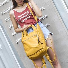 Single shoulder bag dual-purpose bag 2017 new Korean washed leather large capacity Backpack Bag Leather Campus