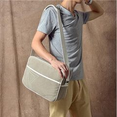 French Khaki thickening Canvas Bag Satchel Bag male double zipper notebook computer bag leisure