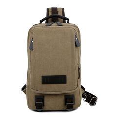 2017 new men's canvas big chest bag, multi-function boy, student shoulder bag, casual fashion tide men bag