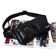 Leather Men's bags, outdoor leisure, multi-functional leather purse, Korean tide, men's chest bag, shoulder slope shoulder bag