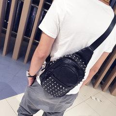 Punk style, rivet, chest pack, Korean character, men's backpack, tide wash leather, men's bag, shoulder, oblique, cross bag, new bag