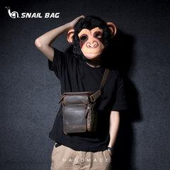 Retro crazy horse leg pocket bag casual shoulder messenger bag bag leather luggage leather bag on hand