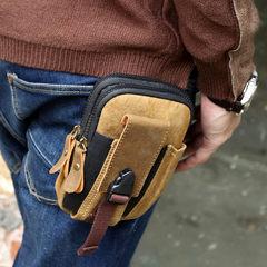 Men's pocket men mobile phone bag pocket multifunctional belt wearing tactical canvas Mini Bag Handbag Purse