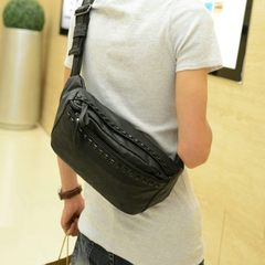 2016 new chest bag, Korean purse, trend rivet, leather portable bag, men's inclined backpack, fashionable leisure