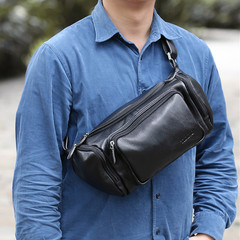 Soft leather bag, male bag, large capacity, multifunctional shoulder, chest, Baotou layer, leather, Outdoor Waterproof Sport Bag