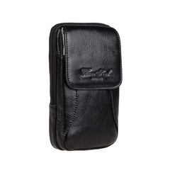 Genuine cowhide vertical style retro men, 5.76 inch mobile phone purse belt, waist hanging wallet, double cell phone bag