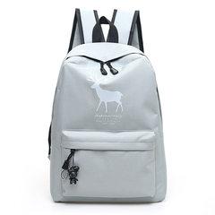2017 new Canvas Backpack bag printing Korean tide wind Institute student bag large capacity Backpack The deer fawn grey send handbag