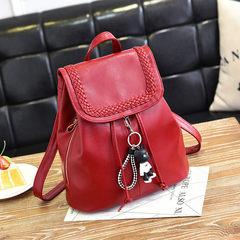 2017 new female bag bag fashion all-match backpack backpack leisure tide and tide Tama bear wine red bag