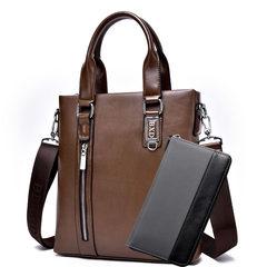 送手包男包单肩包商务包皮包手提包竖款斜挎包休闲背包潮男士包包 卡其色+手包