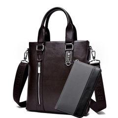 送手包男包单肩包商务包皮包手提包竖款斜挎包休闲背包潮男士包包 棕色+手包