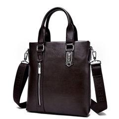 送手包男包单肩包商务包皮包手提包竖款斜挎包休闲背包潮男士包包 棕色,单包