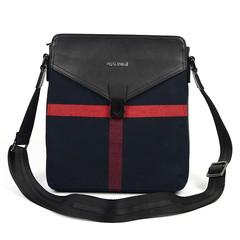 新款正品男士包包帆布挎包休闲单肩包男包斜挎包潮男格子背包包邮 蓝色格子