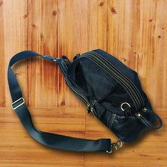 Baotou leather bag chest pocket cowhide Satchel Shoulder retro casual Crazy Horse SLR Camera Bag Black sheepskin Hardware zipper