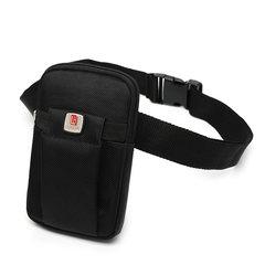 The new summer men multifunctional pockets simple outdoor leisure wear mini ultra-thin mobile phone bag belt bag Black + belt