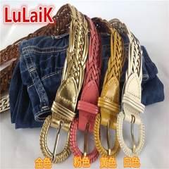 All-match braided belt green belt allergy Shinhan leisure fashion making decorative jeans retro version control