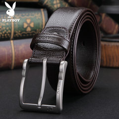Playboy men's belt buckle, pure leather, pure leather belt, business casual elderly, middle-aged father 120cm