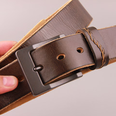 The young man's belt leather belt buckle male all-match tide belt middle-aged male leather belt of leisure 105cm