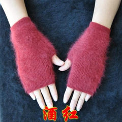 New mink cashmere gloves, half finger, short wrist strap, driving, cycling, winter office gloves