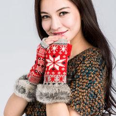 In autumn and winter. Warm fur buta Bracers woolen gloves Half Finger Wool Gloves Ladies exposed finger gloves