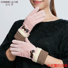 Ladies leather gloves, women's winter autumn cold, warm pigskin gloves, lovely solid color winter riding