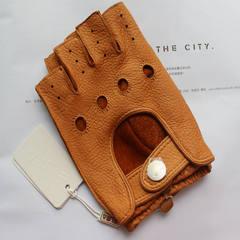 Deerskin gloves of men and women driving single leather gloves leather locomotive driving half finger half male riding gloves