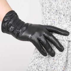 Sakura is beautiful Shuangkou sheepskin gloves plus velvet warm winter fashion ladies casual leather touch driving