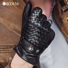BOOUNI leather gloves, men's fashion woven, imported sheep leather gloves, autumn and winter driving leather