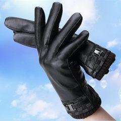 Leather gloves, men's Korean version, autumn and winter warm and cashmere, men's fashion driving, sheepskin gloves, mail