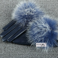 Shipping leather gloves leather gloves cute female coltsfoot short plush sheepskin gloves fox car warm