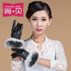 The new winter rabbit washed leather gloves and cuffs ladies touch gloves leather gloves to keep warm