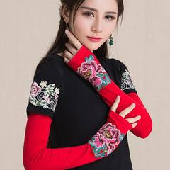 Autumn and winter, new style embroidery, national wind, female accessories, dew, half finger gloves, long plus long sleeve, long half finger gloves