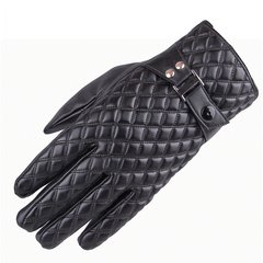 Leather gloves, men's winter flocking and thickening, Korean version, touch screen, riding, motorcycle, cotton gloves, thermal protection, windproof and waterproof.