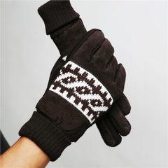 手骑车防风劳保棉手套保暖皮手套学生套男士冬季真皮手套加绒加厚 时尚咖啡色