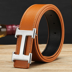Men's genuine leather red automatic buckle belt youth Z letter belt white leisure Korean Edition tide business belt, male yellow silver button 105cm
