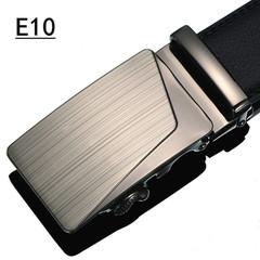 Korean version of men's high-end business casual pure black leather belt, money leopard automatic button style belt E10 105cm