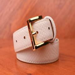 The younger brother is all in the new spring and summer 2017 all-match counter genuine leather belt snakeskin pattern White 1 yards