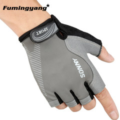 Riding Gloves men refer to spring, summer, touchscreen sports, mountaineering, anti slip, wearable mountain bike, outdoor gloves, female grey half fingers.