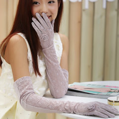 Summer sunscreen gloves, long full refers to riding, driving, thin lady, anti ultraviolet, ice, lace, gloves, sleeves, outdoor Full lace (60CM) refers to a red bean paste