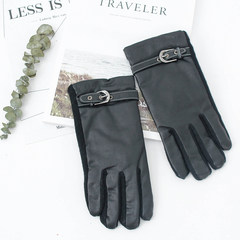 Men's cashmere wool double warm hand leather adjustable finger gloves full autumn and new business HD8084 black