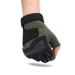 Thin, semi finger gloves, outdoor men and women, spring and autumn, ventilation, mountaineering, exercise, anti-skid, sunscreen, riding equipment 10 army green