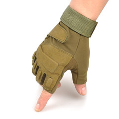 Spring, summer, thin, half refers to children, dew refers to fitness, ventilation, riding, anti-skid tactics, men and women outdoor Driving Gloves 03 army green