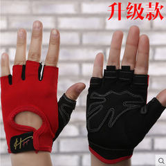 Women's summer sports dumbbells, horizontal bars, wristbands, fitness gloves, men's training, anti slip thin, breathable riding, half fingers Red (courtesy)