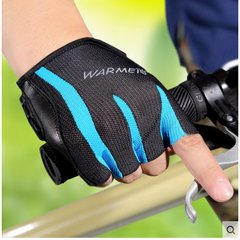 Warmen thin Gym Gloves, men's half finger, sports riding, wrist wristbands, dumbbells, equipment training, cycling gloves, mail Black + blue