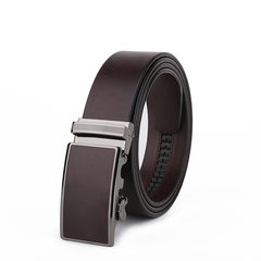 Guangzhou belt, high-end business automatic buckle, belt head layer, Italy imported leather, men's Retro Leather Belt Brown T002-1 105cm