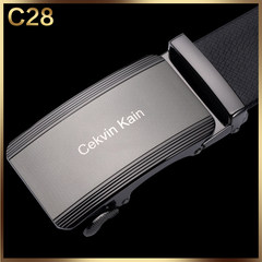 CK male leather belt buckle belt automatic young men's leather business casual belt genuine simple gift box C28 120cm