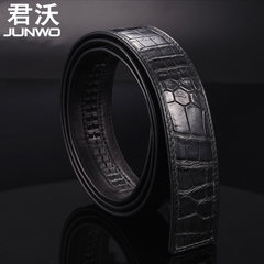 Crocodile belt, belly automatic buckle, no head belt, no lead, leather men's belt, youth without stitching, whole skin Elegant black 105cm