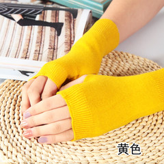 Cashmere arm sleeve sleeve, female winter and winter long finger, semi finger gloves, knitting thickening, warm wool thread, false sleeve What color do you need? Note the color name