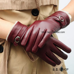[AGOS] imported goat skin, black leather gloves, cashmere wool, warm winter wine, red driving Wine red XL