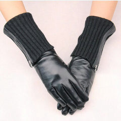 Gloves, winter fashion refers to all finger gloves, leather sheepskin, long Han version, warm driving, cotton gloves Black wool and zipper dual-purpose sheepskin gloves