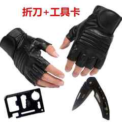 Motorcycle, half finger, men and women riding, leather gloves, summer outdoor riding, anti slip tactics, special forces, half gloves Black - (a knife tool card)